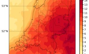 Kaart van relatieve afwijking van de globale straling (=totale instraling op een horizontaal oppervlak) in 2018 ten opzichte van het gemiddelde over de periode 2005-2017, afgeleid uit Meteosat-satellietmetingen.