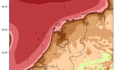 kaart van nederland met windsnelheid uit windatlas (DOWA)