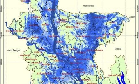 Figuur 1: Kaart van de overstromingen in Bangladesh op 19 augustus 2017 (bron: Reliefweb).