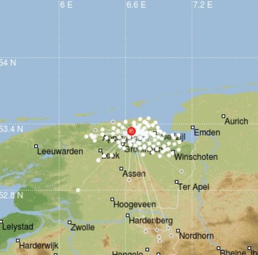 kaartje met bij de rode stip de aardbeving bij Westerwijtwerd