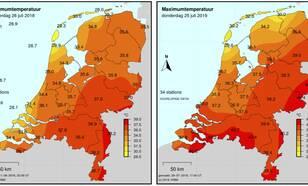 Figuur 1:  Maximumtemperatuur in Nederland op het hoogtepunt van de hittegolf van 15-27 juli 2018 (links) en tijdens de afgelopen hittegolf 22-27 juli 2019 (rechts).