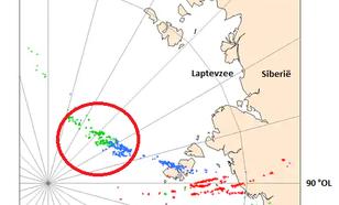 Kaart van Bliksemdetecties in het noordpoolgebied.