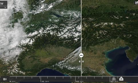 Satellietbeeld van sneeuwfront over de Alpen. Is het wintersportseizoen begonnen?