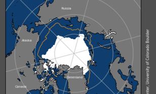 Kaart van zee-ijsbedekking op 18 september 2019.