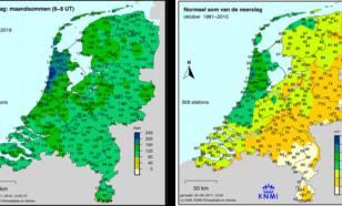 Kaart met neerslag in oktober 2019 en met de normale hoeveelheid neerslag in oktober.