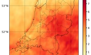 Kaart van relatieve afwijking van de globale straling in Nederland in 2019 ten opzichte van het gemiddelde over de periode 2005-2018, afgeleid uit Meteosat-satellietmetingen.