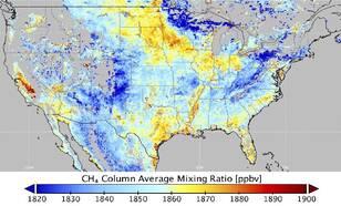 Kaart van het gemiddelde van de Tropomi metingen van methaan boven de Verenigde Staten tussen 1 december 2018 en 31 maart 2019