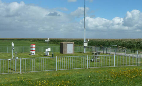 A figure showing the layout of an official KNMI automatic weather station in an open field