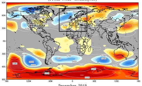Kaarft van afwijkingen gemiddeld 500 hPa drukpatroon t.o.v. de klimatologie voor december 2019.