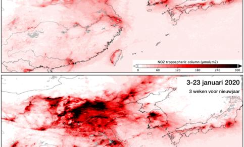 Kaart van de gemeten concentraties NO2 boven China in de drie weken voor en drie weken na het Chinese nieuwjaar. De Corona-uitbraak en de maatregelen vielen samen met de week van nieuwjaar.