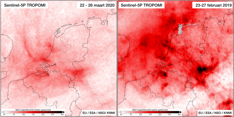 Kaartje waarin tropomi-metingen zichtbaar worden gemaakt