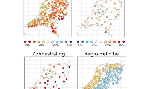 Gemiddeld zomerweer 2018 (april-september), afwijkingen van normaal (1981-2010), en regio definitie.
