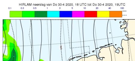 kaart van nederland van onweersbuien met weermodel hirlam