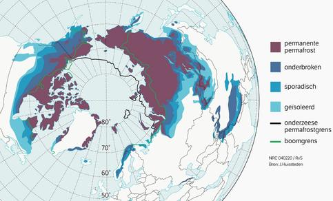 Kaart met geografische verspreiding van permafrostgebieden.