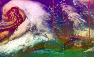 Satellietbeeld zoals gebruikt in Weerkamer (bewolking en onderscheid luchtsoorten 17 december 2018).