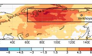 Figuur 1. Temperatuurafwijking in januari-juni 2020 van normaal (1981–2010) in Siberië. De stad Verkhoyansk had het temperatuurrecord van 38 graden Celsius.