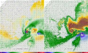Een observatie met een mobiele radar van een onweersbui in de Verenigde Staten waarin een tornado zich vormt, te zien aan de rotaties die zich aan de onderkant van de storm bevinden.