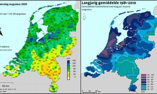 Figuur 1. De totale neerslaghoeveelheden in de afgelopen augustus (links) en de langjarige gemiddelde hoeveelheid neerslag in de maand augustus (rechts). ©KNMI