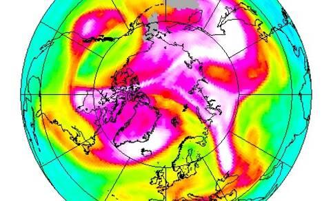 afbeelding van aarde met satellietwaarnemingen met het GOME2 instrument van de ozonlaag boven de Noordpool op 28 maart 2019