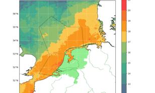 Kaartje drie-daags gemiddelde zeewatertemperatuur Noordzee en binnenwateren Nederland (met afbakening luchtruim dat KNMI monitort).