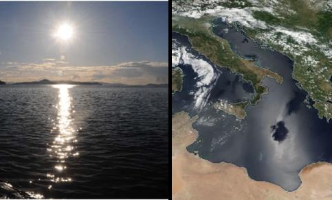 Foto van spiegelingen van zonlicht boven zee. Beeld van zonlichtspiegelingen zoals gezien in satellietdata van het VIIRS satellietinstrument op 2 juli 2018.