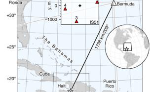 kaart met de locatie van de 2010 aardbeving op de Haiti en IMS infrageluid station IS51 op Bermuda. IS51 bestaat uit vier microbarometers