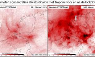 Gemeten hoeveelheid stikstofdioxide in de atmosfeer gemeten met Tropomi voor en na de lockdown