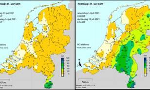 kaart met neerslaghoeveelheden op 13 en 14 juli 2021