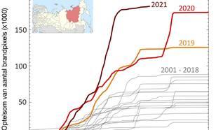 Aantal branden per jaar sinds 2001 gemeten met MODIS