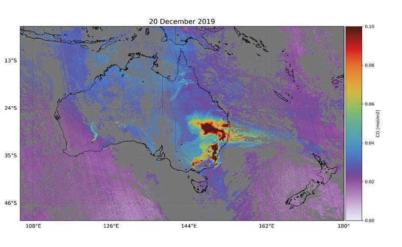 kaart van bosbranden in australie met satellietdata van tropomi