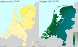 Gemiddelde maximum- en minimumtemperatuur in de herfst in Nederland