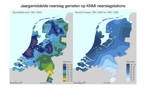 Gemiddelde neerslag in Nederland