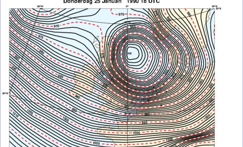 Weerkaart 25 januari 1990 (bron ECMWF)