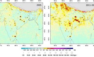 Luchtvervuiling (zwaveldioxide) boven India gemeten met OMI tussen 2005 en 2012. De hoeveelheid zwaveldioxide emissies afkomstig van energiecentrales is met meer dan 60% toegenomen (Bron: ACS Publications)