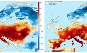 Percentages dagen en nachten in de zomer van 2015 die als 'warm' gekarakteriseerd worden, als afwijkingen van het langjarig gemiddelde van 1981-2010. © KNMI