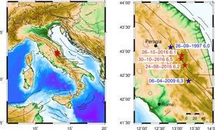 Kaart met de lokatie van de drie grootste bevingen sinds 24 augustus 2016 en twee oudere bevingen in dezelfde regio. ©KNMI