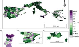 Verandering in oppervlak van verbrand gebied gedurende (a) 1985-2011, (b) Portugal 1980-2011, (c) Spanje 1974-2011, and (d) Zuid-Frankrijk 1974-2011. Groen betekent een afname, paars een toename. Bron: Turco et al., [2016].