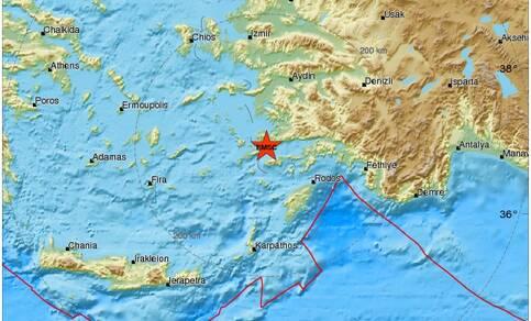 Locatie van de aardbeving van 20 juli 2017