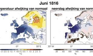 Temperatuur en neerslag afwijking van normaal in Juni1816 op basis van oude meetreeksen waaronder de Nederlandse Zwanenburg reeks. Bron: Luterbacher and Pfister, Nature Geoscience, 2015.