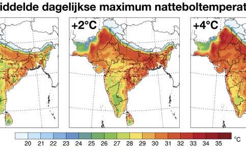 Gemiddelde dagelijkse maximum natteboltemperatuur over India nu en bij een mondiale opwarming van 2 en 4 graden. Waarden boven de 35 graden zijn levensgevaarlijk. Bron: Eun-Soon Im et al, Science Advances, 2017