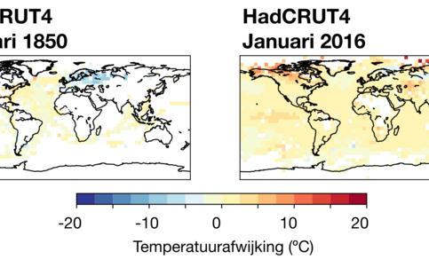 Figuur 2: Temperatuurafwijkingen ten opzichte van 1961-1990, witte gebieden hebben te weinig metingen. Bron: HadCRUT4, Met Office en Climatic Research Unit.