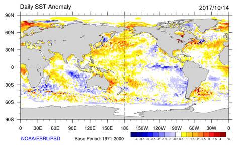 Figuur met het aantal graden van het zeewater op verschillende plekken in de wereld
