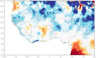 Figuur 2. Relatieve afwijking van gemiddeld van juni–oktober 2017 regen in West Afrika, -0.5 betekent 50% minder regen dan normaal, +0.5 juist 50% meer dan normaal.