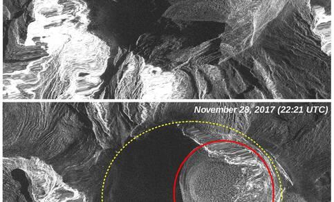 Beeld van krater van de COSMO-SkyMED satelliet