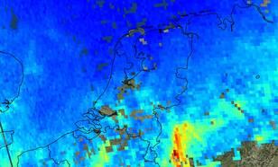 satellietbeeld van nederland waarop NO2 concentratie, stikstofdioxide, op 17 november te zien is. Er was een aanvoer van schone lucht uit het Noordwesten waardoor de concentraties veel lager zijn dan op 7 november