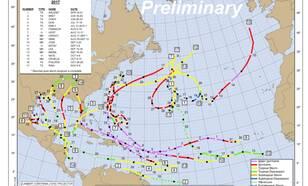 kaart met paden van atlantische tropische cyclonen in 2017