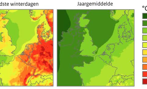 Figuur 2: Opwarming voor de koudste winterdagen (links) vergeleken met de jaargemiddelde opwarming (rechts) bij het scenario met grootste verandering voor 2050 ten opzichte van 1981-2010. Bron: KNMI'14 klimaatscenario's.
