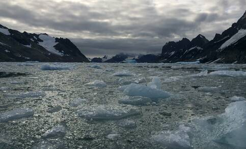 Figuur 2. Overblijfselen van afkalvende gletsjers in Hornsund, Spitsbergen. Bron:  R. Bintanja.