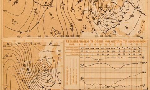 Originele KNMI-weerkaart met weersverwachtingen en waarschuwingen van de rampnacht in 1953 opgesteld door meteoroloog Postma ©KNMI