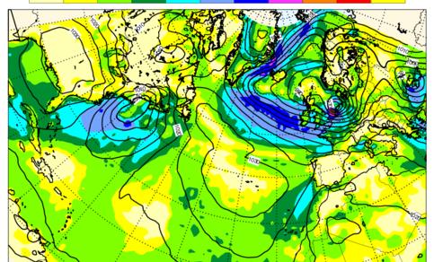 Berekeningen van het ECMWF computermodel van 13 januari voor 18 januari. Contouren zijn lijnen van gelijke luchtdruk (hPa) en kleuren windsnelheid (knopen). Ligging en sterkte van de storm boven Nederland komen goed overeen met de werkelijke storm.